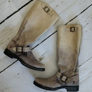 Frye Veronica Slouch Boots Distressed Gray Size 6